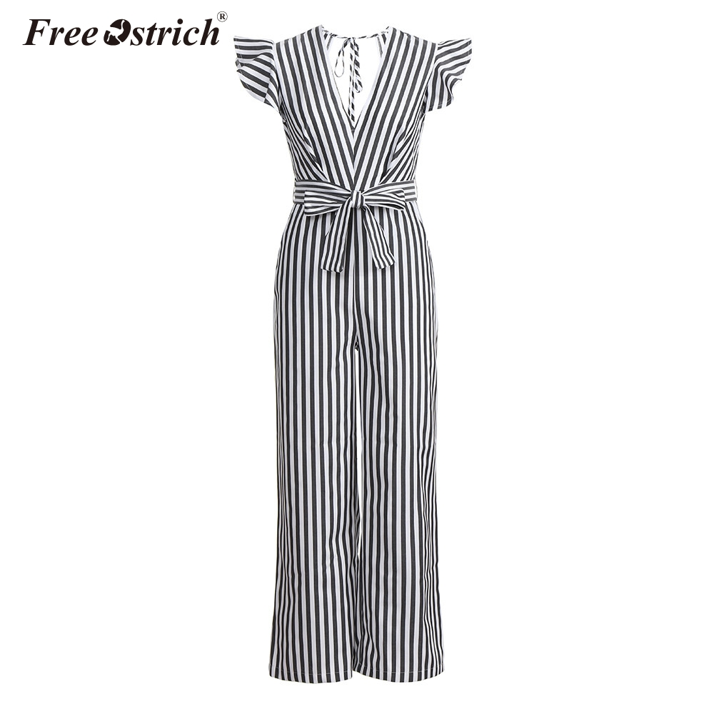 Free Ostrich Jumpsuit Women 2018 Summer Women Summer Sleeveless Striped Halter Ruffle Sexy Plus Size Jumpsuit N30 1
