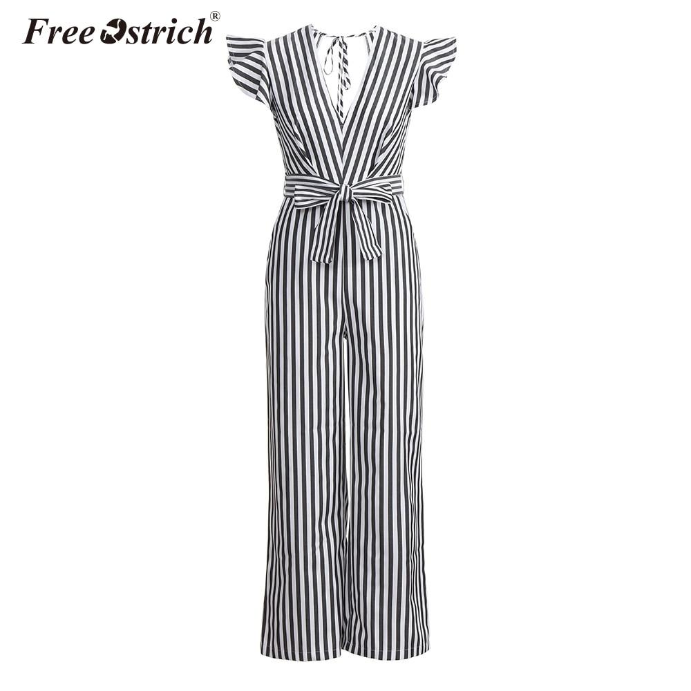 Free Ostrich Jumpsuit Women 2018 Summer Women Summer Sleeveless Striped Halter Ruffle Sexy Plus Size Jumpsuit N30 1