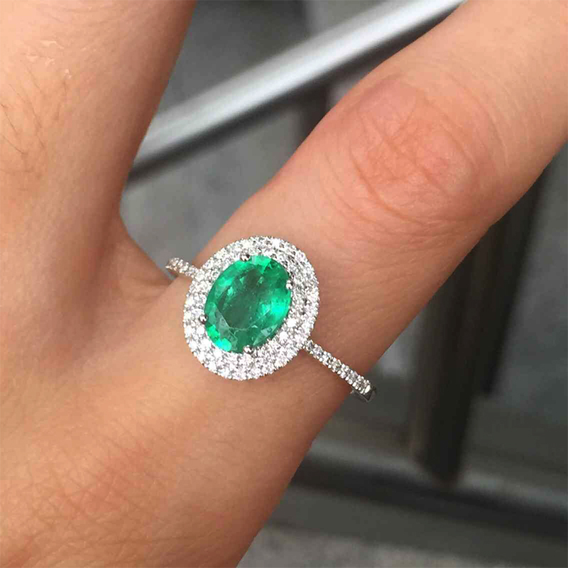 Aliexpress.com : Buy 14kt White Gold 1.27ct Oval Emerald Pave SI Diamond  Engagement Ring Fine Jewelry from Reliable jewelry lapis suppliers on  Changxing ...