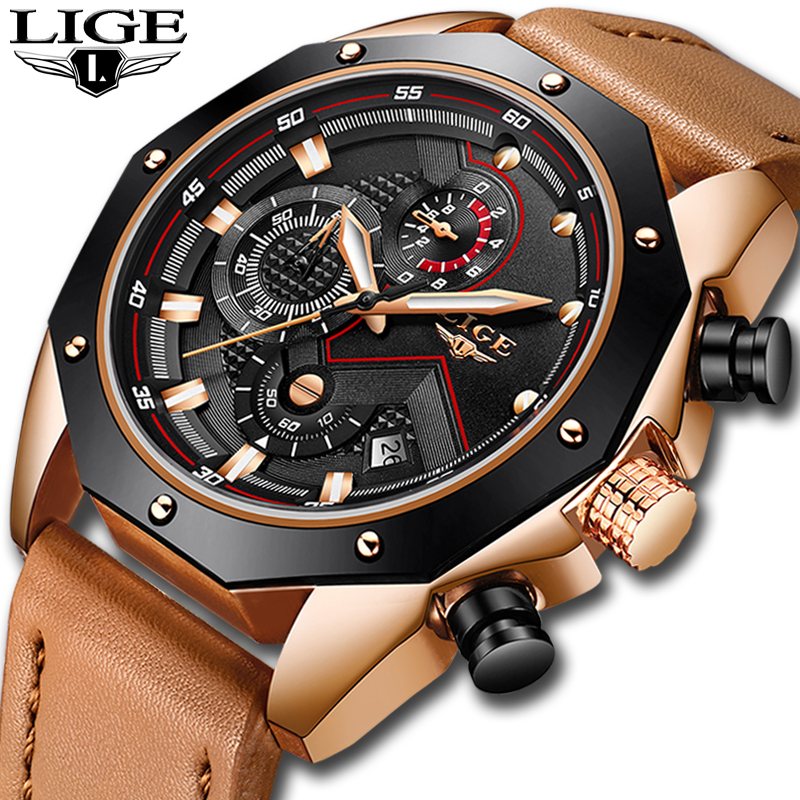 Relojes hombre New LIGE Mens Watches Top Brand Luxury Quartz Gold Watch Men Casual Leather Military Waterproof Sport Wristwatch mens watches oulm top brand luxury military quartz watch unique 3 small dials leather strap male wristwatch relojes hombre