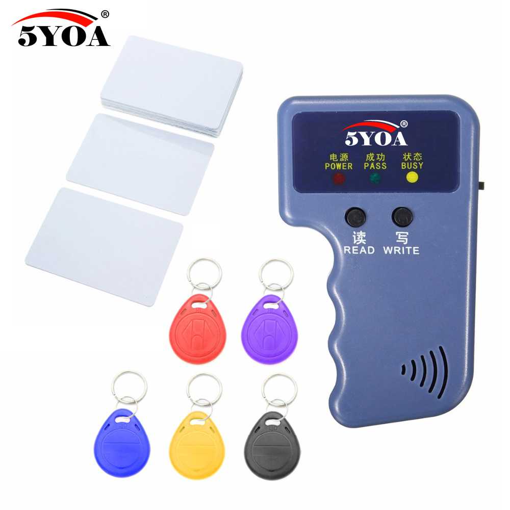 Handheld 125KHz RFID Duplicator Copier Writer Programmer Reader + Keys + Cards EM4305 T5577 Rewritable ID Keyfobs Tags Card handheld 125khz rfid duplicator key copier reader writer id card cloner programmer 5 keys 5pcs rewritable cards em4305 t5577