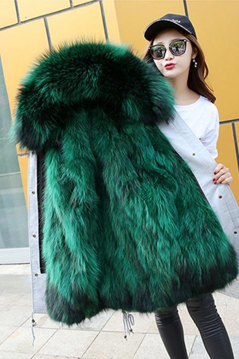 Women Real Fox Fur Coat Female Winter Fashion Natural Dog Raccoon Fur Hood Collar Parka Jacket Ladies Real Fox Fur Lined Parka 2017 winter new clothes to overcome the coat of women in the long reed rabbit hair fur fur coat fox raccoon fur collar