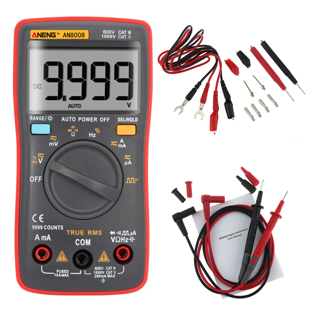 ANENG AN8008 Digital Multimeter 9999 Counts Square Wave Backlight AC DC Voltage Ammeter Current Ohm Auto/Manual an8008 true rms digital multimeter 9999 counts square wave backlight ac dc voltage ammeter current ohm auto manual tester probes