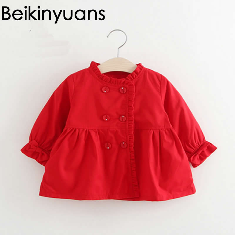 <font><b>Spring</b></font> children Jacket Wholesale 2017 Pure Color Double Breasted Bow Sleeves Windbreaker Korean Baby girls clothing Coat