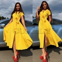 Women Vintage Sashes Button Party Dress Short Sleeve Turn Down Collar Office Elegant Maxi 2019 Summer Fashion