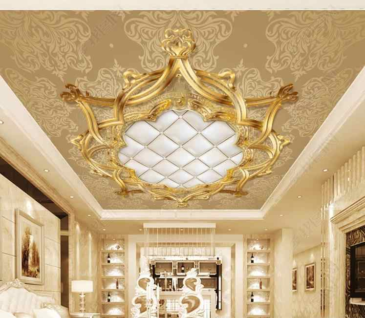 Gold 3D Ceiling Wallpaper European style Pattern soft bag wallpapers for living room bedroom 3d ceiling wall papers home decor
