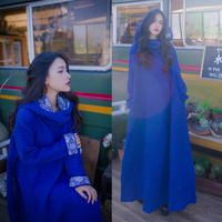 Plus size maxi long loose vintage robe for Muslim women high quality hooded printed chinese style blue dress jn526