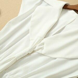 Image 2 - Vestito lungo Milan Posto di Lavoro Del Partito Del Progettista della Pista di Alta Qualità di Estate Nuove Donne Di Modo Sexy Dellannata Elegante Chic Abiti Bianchi