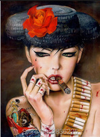 Metal sanat duvar dekor toptan seksi lady tuval duvar sanatı modern boyama renkli güzel Sıcak Seks Kız sigara kız duvar sanat