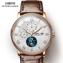 LOBINNI relojes de marca lujosa para hombre, reloj mecánico automático de gaviota, L1023B 5 de fase de luna de zafiro