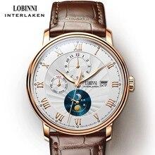 جديد LOBINNI سويسرا الرجال الساعات الفاخرة العلامة التجارية ساعات المعصم النورس التلقائي الميكانيكية ساعة الياقوت القمر المرحلة L1023B 5