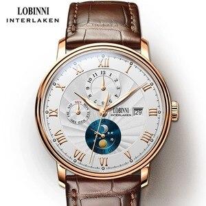 Image 1 - Neue LOBINNI Schweiz Männer Uhren Luxus Marke Armbanduhren Seagull Automatische Mechanische Uhr Sapphire Mond Phase L1023B 5