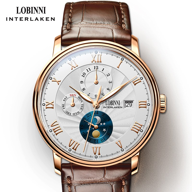 Marca de Luxo Fase da Lua Nova Lobinni Suíça Relógios Masculinos Gaivota Relógio Mecânico Automático Safira L1023b-5