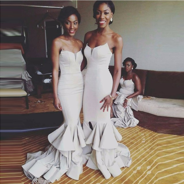 5bd9921800 Sexy Long Bridesmaid Dresses 2019 Mermaid Strapless Ruffles African Party  Gowns For Wedding Black Girls Bridesmaid Robes Gowns