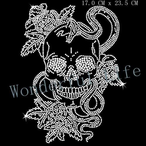 Free Shipping Flower pattern with skull hotfix motif rhinestone Heat  transfer rhinestone for garment embellishment 245d277e2b2f