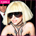 Lady GaGa Wig Cosplay Synthetic Hair Wigs 1PC Blonde Black Wigs Cos Short Straight Bobo Free Shipping