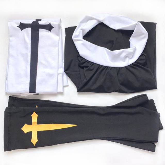 Sexy Nun Costume Adult Women Cosplay With Stockings Black Hoodie For Halloween