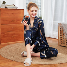spring Autumn Winter 2019 New Women printing pajamas Emulation Silk Female Nightwear NightSuit Sleepwear Sets