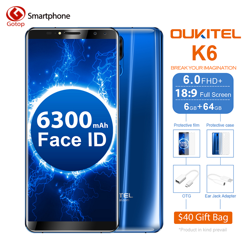 Oukitel K6 18:9 6.0'' écran Face ID 6GB RAM 64GB ROM MT6763 Octa Core 6300mAh Batterie 4G Empreinte Digitale 21MP+13MP 4 Camera phone