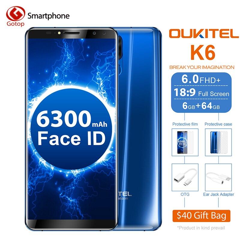 Oukitel K6 18:9 6,0 ''Дисплей Face ID 6 ГБ Оперативная память 6 4G B Встроенная память MT6763 Octa Core 6300 мАч Батарея 4G отпечатков пальцев 21MP + 13MP 4 Камера телефон