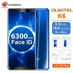 Oukitel K6 18:9 6.0'' Display Face ID 6GB RAM 64GB ROM MT6763 Octa Core 6300mAh Battery 4G Fingerprint 21MP+13MP 4 Camera phone