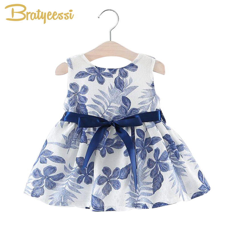 Floral Print Baby Girl Dress with Bow A-Line Sleeveless Summer Dress for Princess Party Formal Baby Dresses Blue/Red/Green