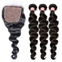 Свободная волна Шёлковые подкладки с пучки бразильские человеческие волосы Связки с закрытием 4 шт. волос дело Реми природных Цвет
