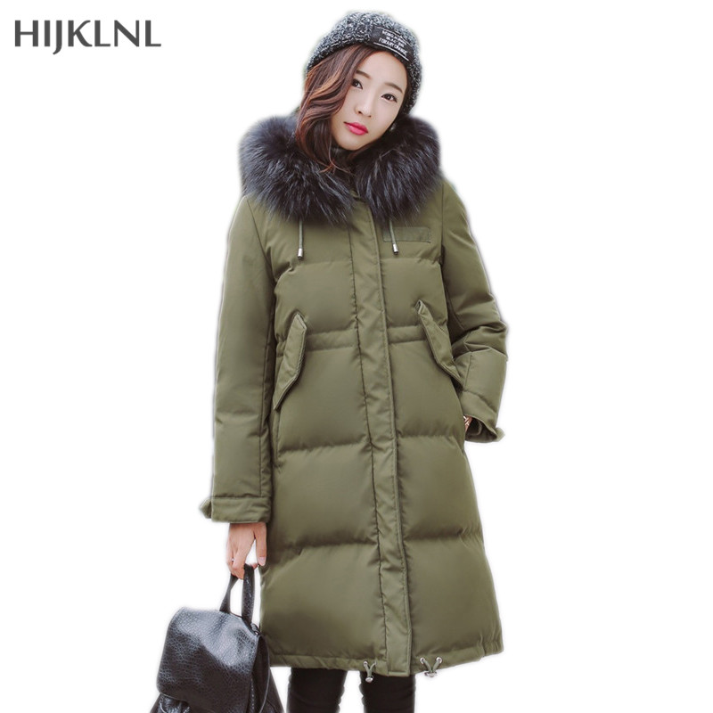 HIJKLNL Big Fur Collar Hooded   Down     Coat   2019 New Winter Jacekt Women Mid-long Duck   Down   Jacket Female Feather Jacket LH1261