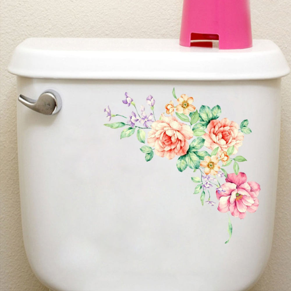 % Peony Flowers Wall Stickers Art Home Decor PVC Removable vinyl wall decals for kids living room Toilet fridge decorations
