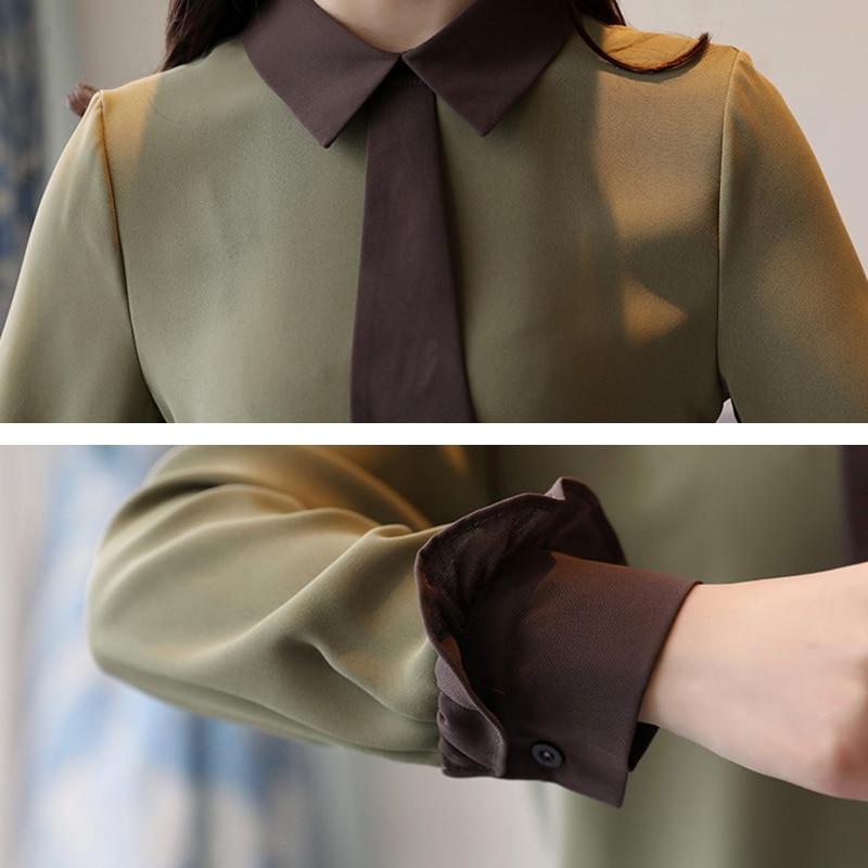 Lâche Fashion108 Automne White Soie Couture Style green Collège Mousseline Colour En Mode Nouveau Printemps caramel 2018 Tempérament Chemise À Cravate Manches De Longues 5UwCXqn6