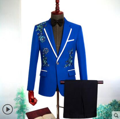 Star style stage wedding clothing for men groom suit set with pants singer mens suits Sequin flower formal dress blue fashion in Suits from Men 39 s Clothing