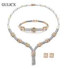 GULICX High-end Banquet Design Luxury Bridal Jewelry Sets Wedding Accessories Tassel Cubic Zirconia AAA CZ For Brides