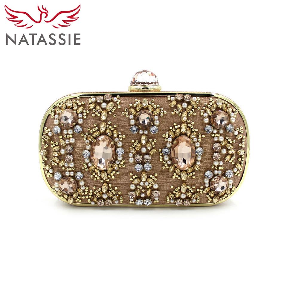 ФОТО NATASSIE High Quality 2016 Clutches Purses Silver Designer Crystal Evening Handbags Women Wedding Party Female Alloy Beaded Bags