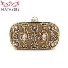 NATASSIE High Quality 2016 Clutches Purses Silver Designer Crystal Evening Handbags Women Wedding Party Female Alloy Beaded Bags