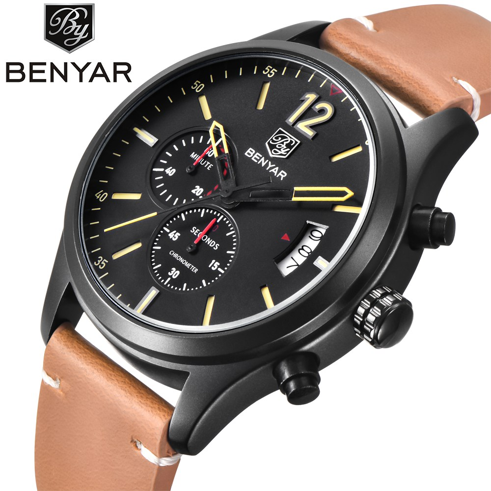 Benyar Brand Men's Sport Watch Top Luxury Male Waterproof Quartz Military Leather Wrist Watch Men Chronograph Army Clock saat megir sport mens watches top brand luxury male leather waterproof chronograph quartz military wrist watch men clock saat 2017