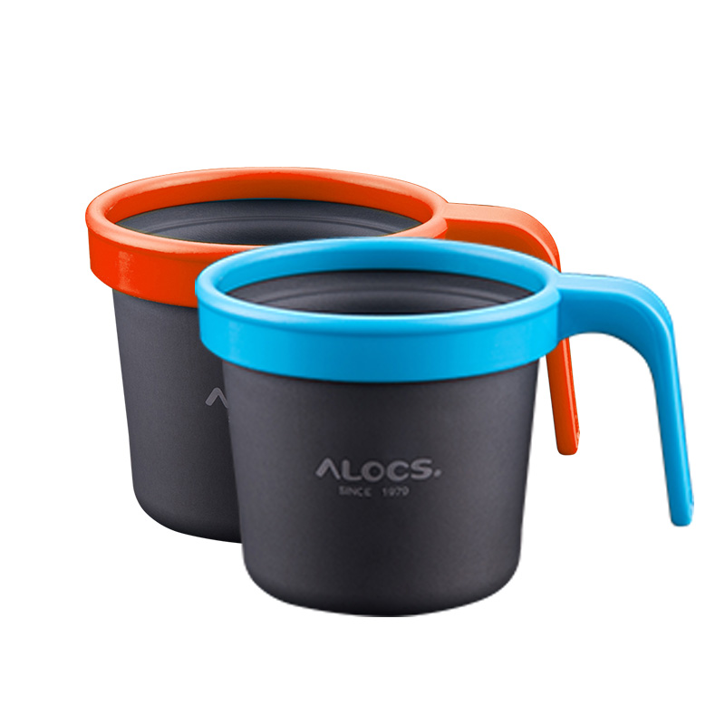 Alocs Outdoor Cup Portable Camping Cups Handle Water Aluminum Alloy Mug Health Safety Coffe Tea Bottle 150ml 280ml Кубок