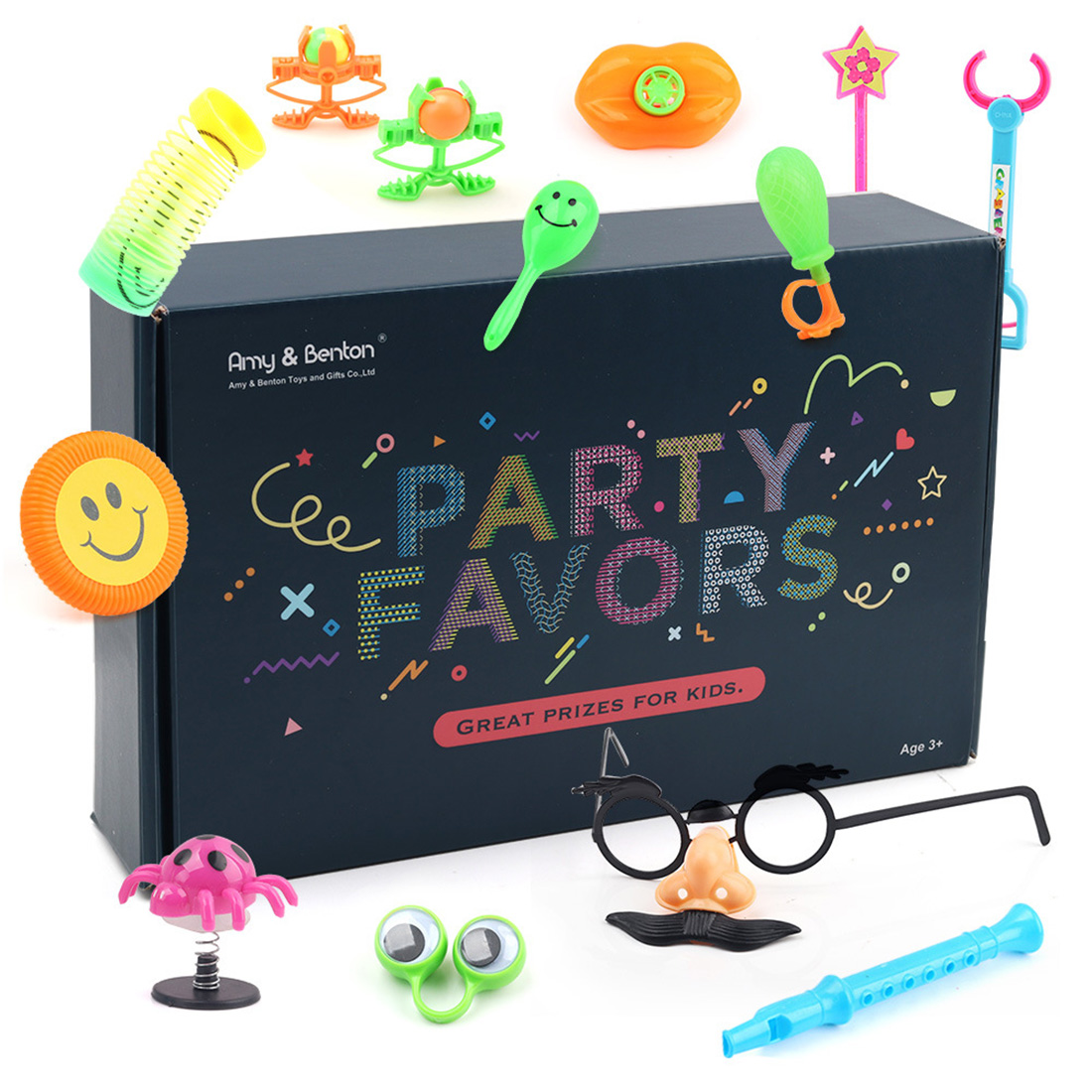 75pcs 120Pcs Children Birthday Kid's Party Prizes Assorted Small Toys Set Mustache Glasses Magic Mask Medal Star Cartoon Hats