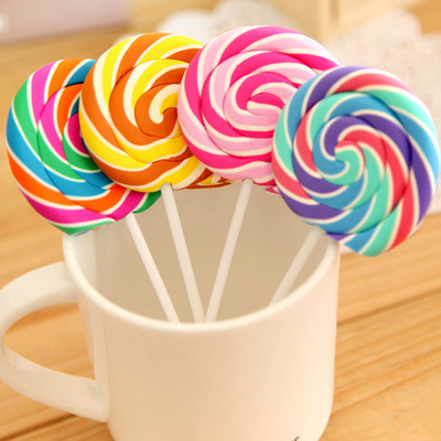 4pcs / Lot Children Stationery Pencil Creative Cartoon Simulation Lollipop Cute Eraser Safe Non-toxic Children's School Gift