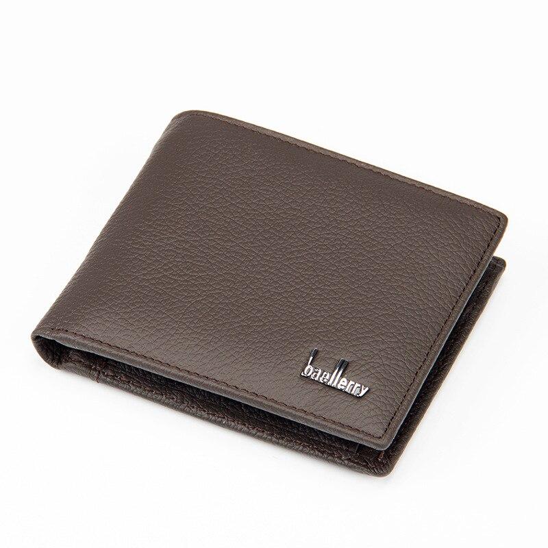 Двойной мужской кошелек из натуральной кожи, Большой Вместительный Многофункциональный кошелек, практичные короткие кошельки, внутренний карман для монет WB183 - Цвет: Brown