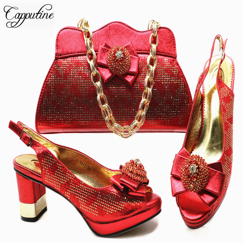 Capputine Italian Rhinestone High Heels Shoes And Purse Set Afircan Ladies Red Color Shoes With Matching Bag Set For Wedding