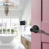 Probrico Privacy Keyless Lever Door Lock Bathroom Stainless Steel Oil Rubbed Bronze Door Handle For Interior Door DL12061ORBBK