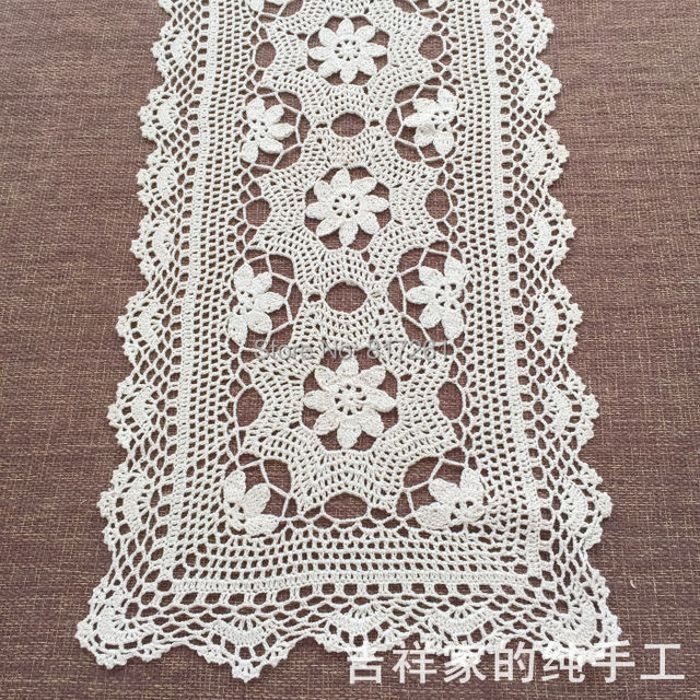 2017 New Arrival Cotton Crochet Lace Table Runner For Home Decor Tv Towel With Flowers Cover Cabinet Mat