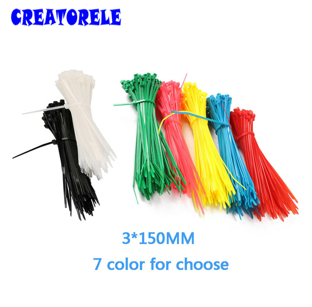 3*150mm 100PCS/Bag 6 coIors for choose CoIorfuI veIcro nyIon cabIe cabIe wire SeIf-Iocking pIastic zIp tIes