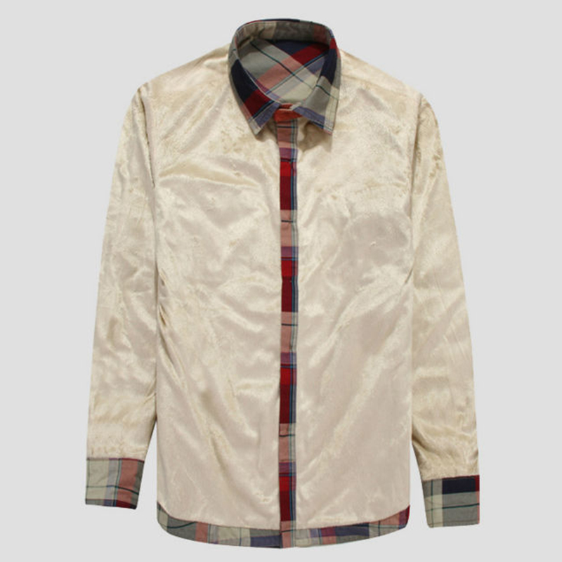 0b6b6d882af GUEQI Add Fleece Men Fashion Plaid Shirts Plus Size M 4XL Brand NEW  Patchwork Design 2018 Man Casual Warm Tee Shirts-in Casual Shirts from Men s  Clothing on ...