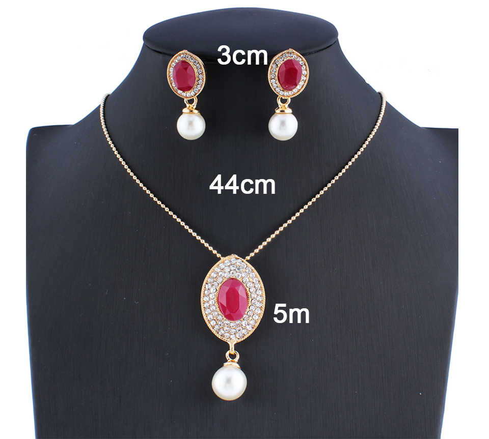 jiayijiaduo Indian jewelry set for the charm of women's necklaces earrings pendants set of red gifts