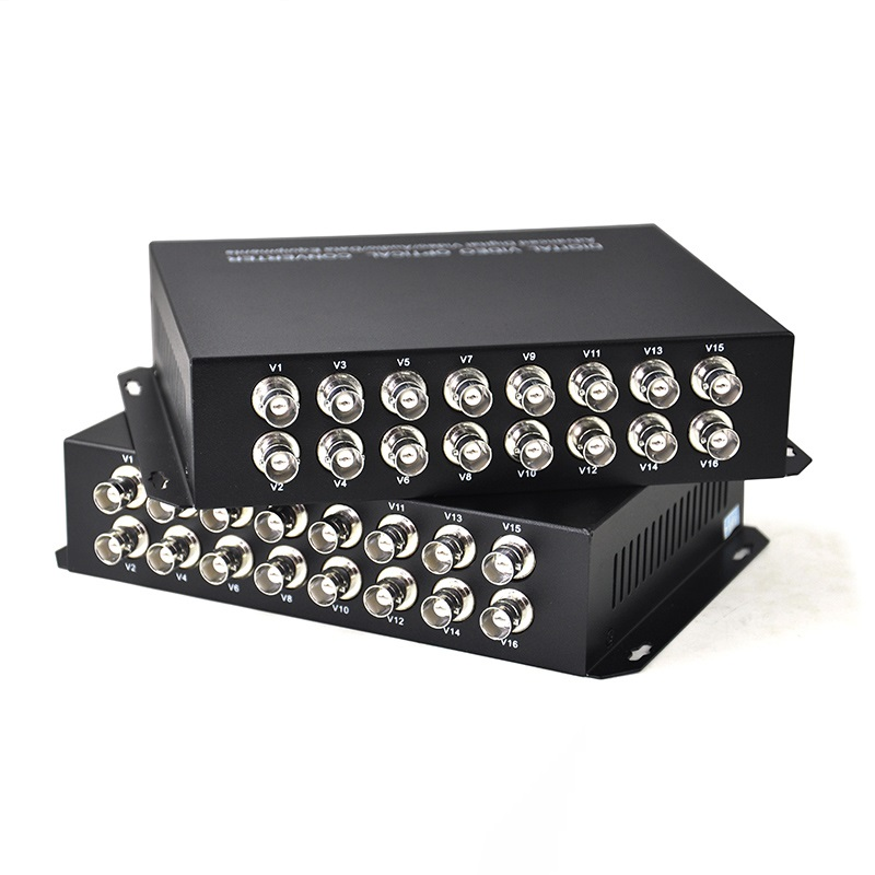 1pair 16 channel Single mode video data fiber optic media converter,16v1d,RS485 port FC 20KM