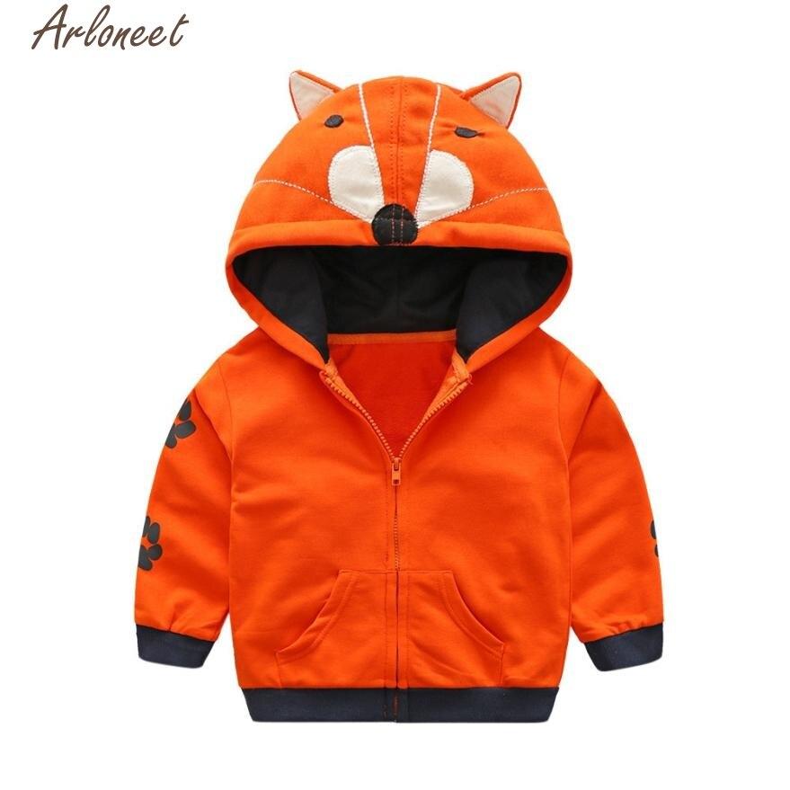 Arloneet зимнее пальто детские Дети для маленьких мальчиков девушки мультфильм животных на молнии с капюшоном Верхняя одежда Пальто P30 dec01