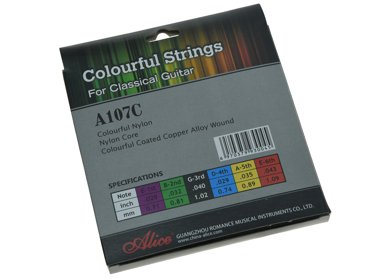 Alice Colorful Nylon Classical Guitar String Normal Tension Nylon Coated Copper Alloy Wound Strings