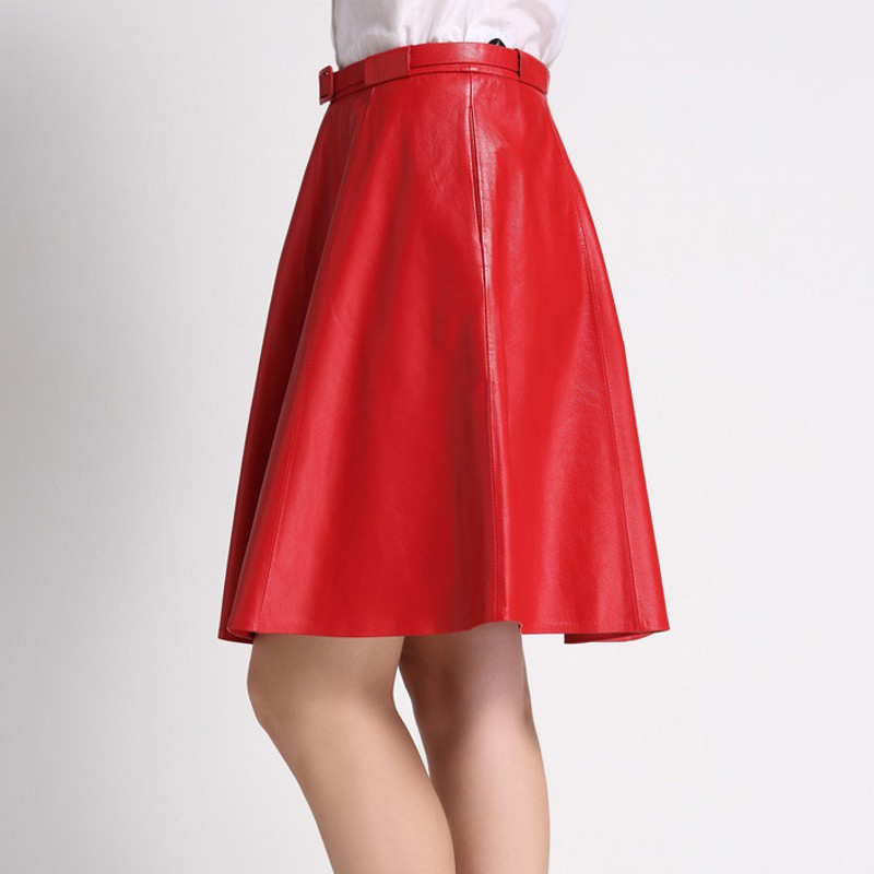 Slim Femmes En Top Bureau Taille Plissée Élégant Red black Haute Noir Lady Mujer Faldas Ceinture De Jupe Réel Jupes Cuir Fit Mouton Qualité Peau vv7Ip