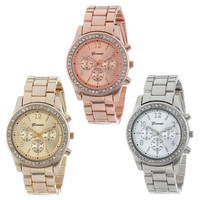 Rose gold watch faux chronograph quartz plated classic crystals round ladies women watch luxury gold silver.jpg 200x200